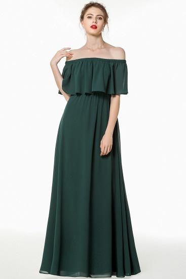 Gorgeous Chiffon Flounced Crinkle Cold-shoulder Long Bridesmaid Dresses Affordable_1