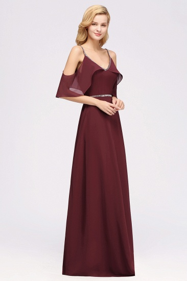 Burgundy Cold-shoulder Long Bridesmaid Dress With Half Sleeve_6