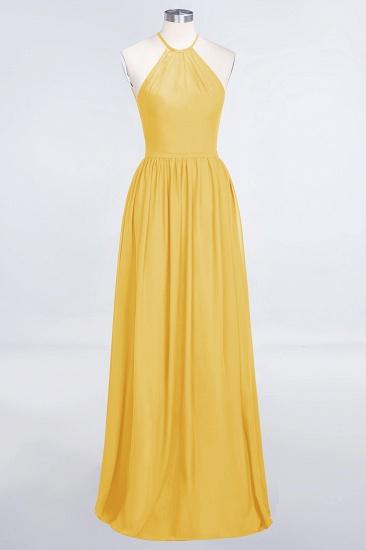 BMbridal Affordable Halter Sleeveless Long Burgundy Bridesmaid Dress with Ruffle_17