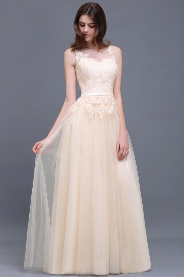 BMbridal Elegant Tulle Lace Champagne Long Bridesmaid Dress With Appliques_6