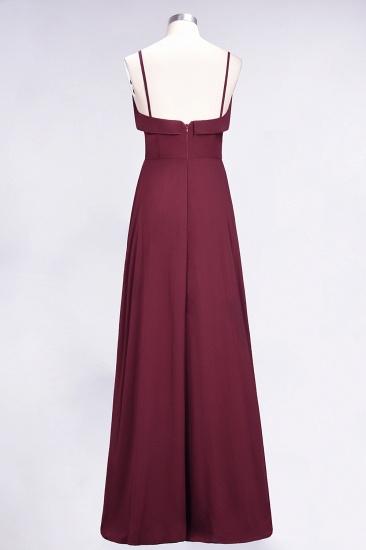 Elegant Spaghetti Straps Ruffle Burgundy Chiffon Dresses Affordable_61
