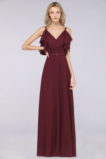 Modest Cold-shoulder Crinkle Chiffon Long Bridesmaid Dress with Pearls_1