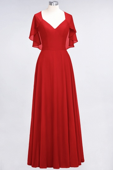 Chic Satin V-Neck Long Burgundy Chiffon Bridesmaid Dress with Flutter Sleeve_8