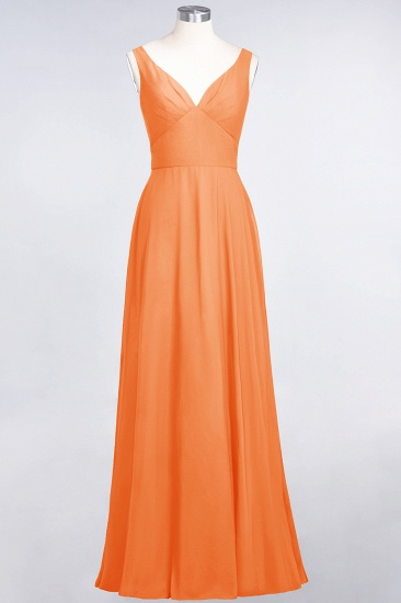 Chic Chiffon V-Neck Straps Ruffle Affordable Bridesmaid Dresses with Open Back_15