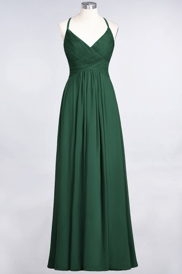 Affordable Chiffon Ruffle V-Neck Bridesmaid Dress with Spaghetti Straps_30