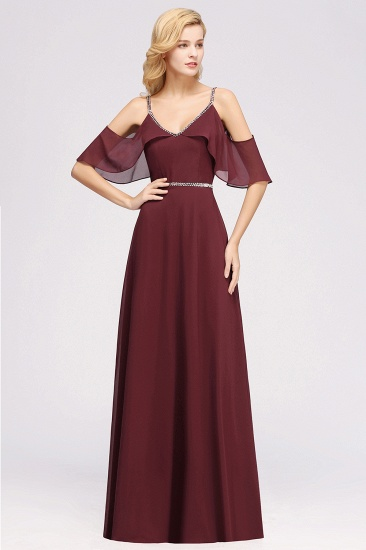 Burgundy Cold-shoulder Long Bridesmaid Dress With Half Sleeve_3