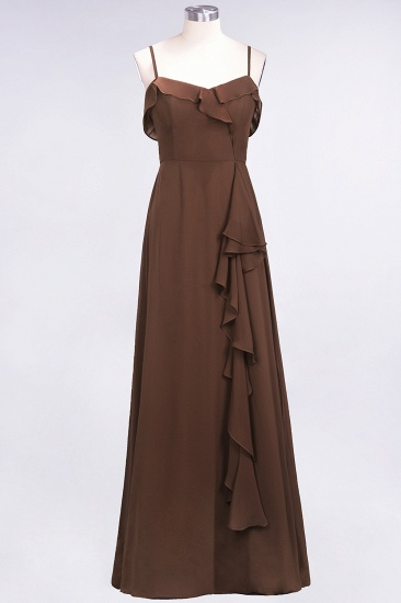 Elegant Spaghetti Straps Ruffle Burgundy Chiffon Dresses Affordable_12