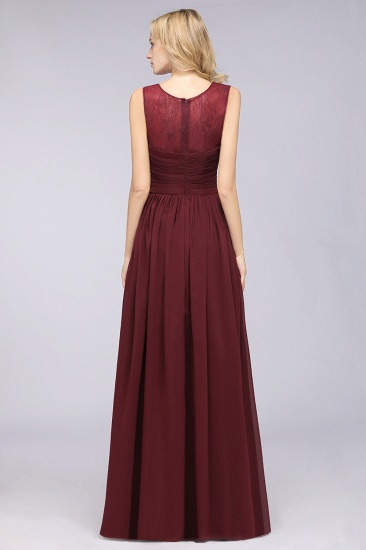Modest Chiffon Lace Scoop Ruffle Burgundy Bridesmaid Dresses Affordable_3