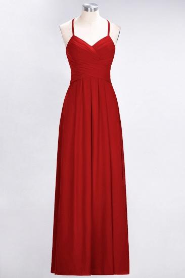 Affordable Spaghetti Straps V-Neck Burgundy Chiffon Bridesmaid Dress with Keyhole Back_8