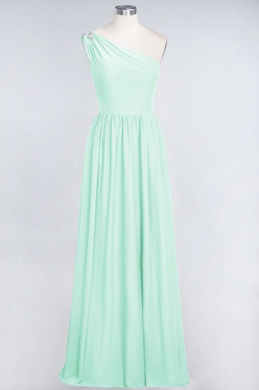 Affordable Chiffon One-Shoulder Ruffle Bridesmaid Dress with Beadings_36