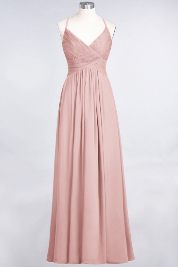 Affordable Chiffon Ruffle V-Neck Bridesmaid Dress with Spaghetti Straps_6