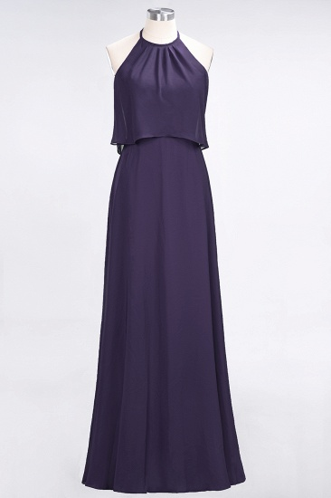 Gorgeous Chiffon Flounced Crinkle Sheath Long Burgundy Bridesmaid Dresses_19