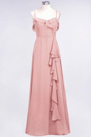 Elegant Spaghetti Straps Ruffle Burgundy Chiffon Dresses Affordable_6
