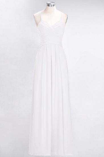 Affordable Spaghetti Straps V-Neck Burgundy Chiffon Bridesmaid Dress with Keyhole Back_1