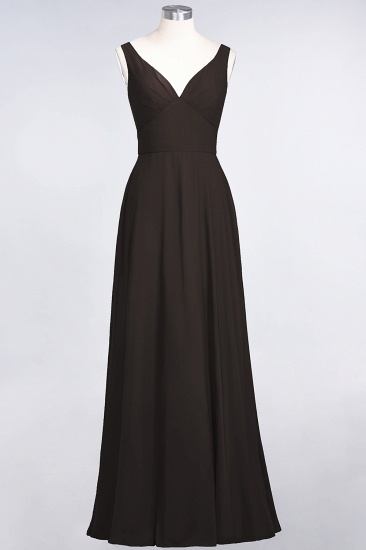 Chic Chiffon V-Neck Straps Ruffle Affordable Bridesmaid Dresses with Open Back_11