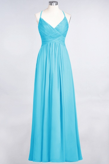 Affordable Chiffon Ruffle V-Neck Bridesmaid Dress with Spaghetti Straps_23