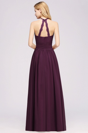 Elegant High-Neck Halter Long Affordable Bridesmaid Dresses with Ruffles_56