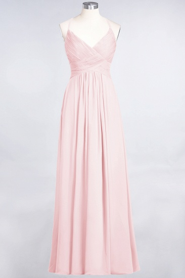 Affordable Chiffon Ruffle V-Neck Bridesmaid Dress with Spaghetti Straps_3
