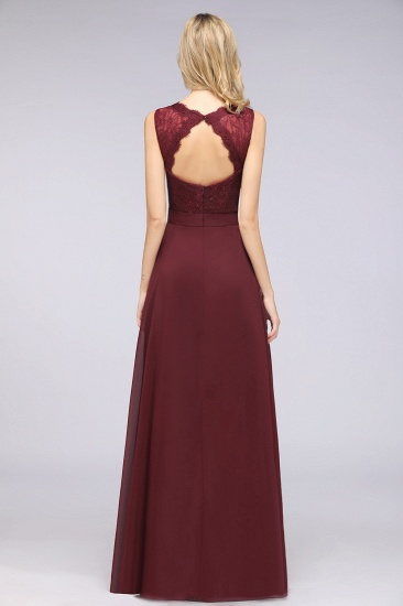 BMbridal Modest Chiffon V-Neck Burgundy Lace Bridesmaid Dresses Online_52