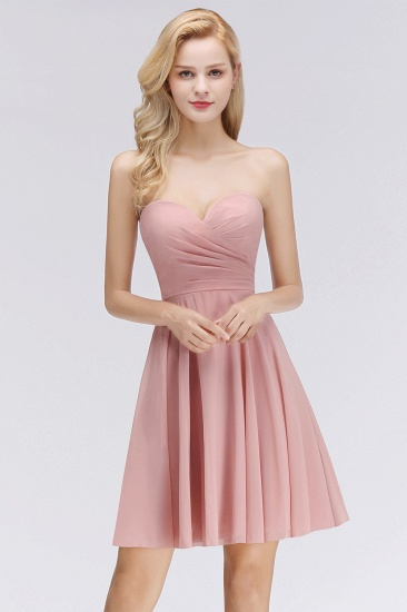 Lovely Sweetheart ruffle Pink Chiffon Short Bridesmaid Dresses Affordable_1