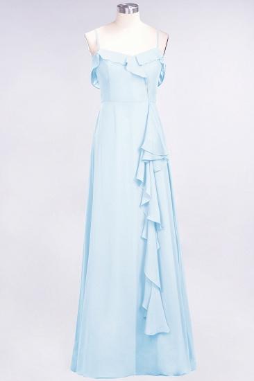 Elegant Spaghetti Straps Ruffle Burgundy Chiffon Dresses Affordable_23