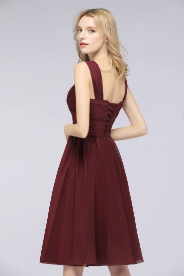Elegant Ruffle Straps Short Burgundy Bridesmaid Dresses Online_5