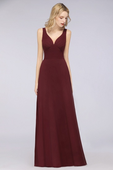 Chic Chiffon V-Neck Straps Ruffle Affordable Bridesmaid Dresses with Open Back_54