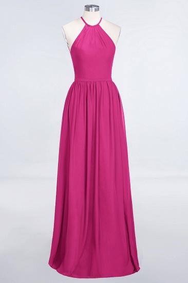 BMbridal Affordable Halter Sleeveless Long Burgundy Bridesmaid Dress with Ruffle_9