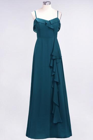 Elegant Spaghetti Straps Ruffle Burgundy Chiffon Dresses Affordable_27
