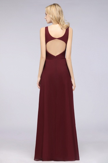 Chic Chiffon V-Neck Straps Ruffle Affordable Bridesmaid Dresses with Open Back_52