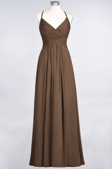 Affordable Chiffon Ruffle V-Neck Bridesmaid Dress with Spaghetti Straps_12