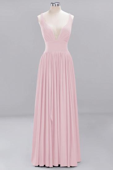 Sexy Deep V-Neck Sleeveless Bridesmaid Dress Burgundy Chiffon Wedding Party Dress_3