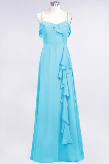 Elegant Spaghetti Straps Ruffle Burgundy Chiffon Dresses Affordable_24