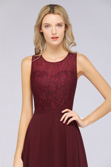 BMbridal Elegant Roud Neckline Sleeveless Burgundy Lace Bridesmaid Dress Online_5