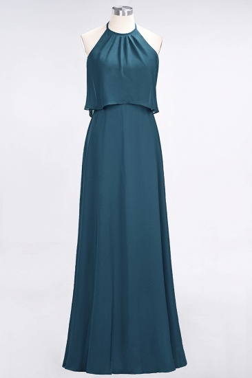 Gorgeous Chiffon Flounced Crinkle Sheath Long Burgundy Bridesmaid Dresses_27