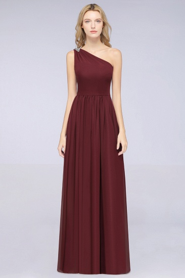 Affordable Chiffon One-Shoulder Ruffle Bridesmaid Dress with Beadings_10
