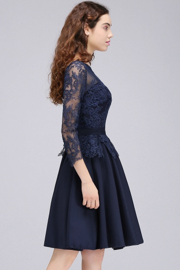 BMbridal Modest 3/4 Sleeves Short Navy Lace Bridesmaid Dresses with Appliques_5