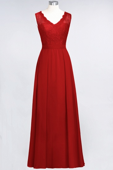 BMbridal Modest Chiffon V-Neck Burgundy Lace Bridesmaid Dresses Online_8