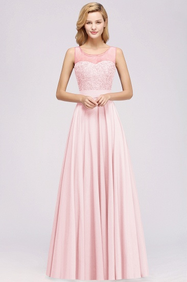 Gorgeous Lace Jewel Affordable Pink Bridesmaid Dress with Beadings_1