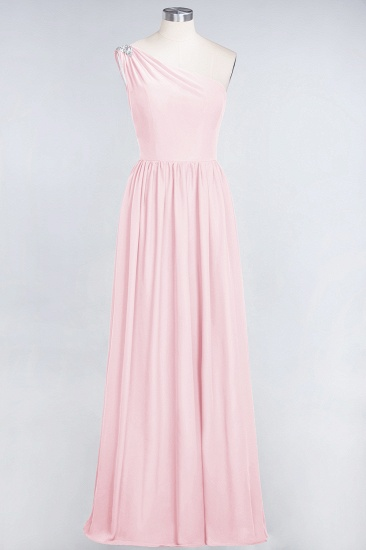 Affordable Chiffon One-Shoulder Ruffle Bridesmaid Dress with Beadings_3
