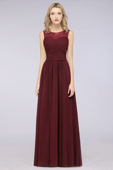 Modest Chiffon Lace Scoop Ruffle Burgundy Bridesmaid Dresses Affordable_1