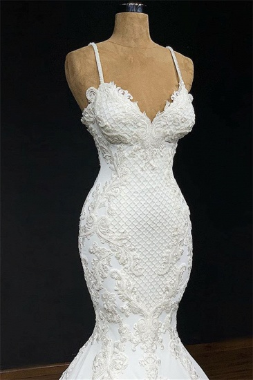 BMbridal Unique White Spaghetti Straps Mermaid Wedding Dresses With Appliques Tulle Ruffles Lace Bridal Gowns Online_3