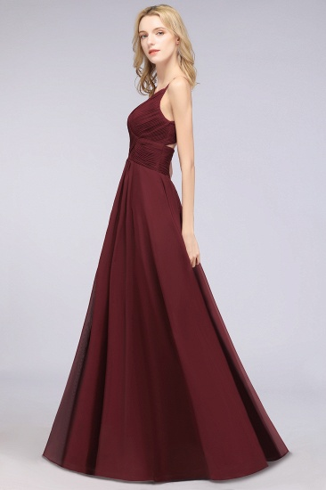 Affordable Chiffon Ruffle V-Neck Bridesmaid Dress with Spaghetti Straps_37
