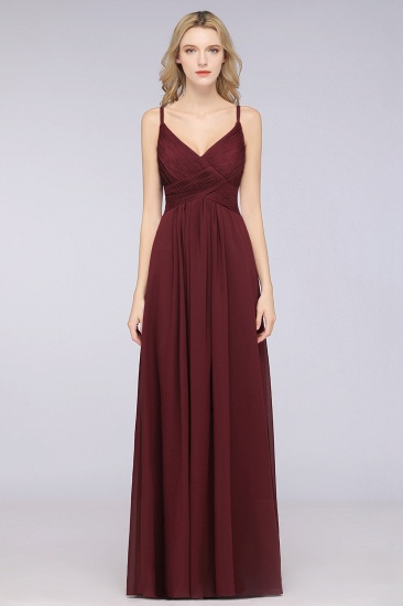 Affordable Chiffon Ruffle V-Neck Bridesmaid Dress with Spaghetti Straps_10