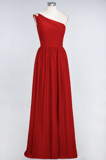 Affordable Chiffon One-Shoulder Ruffle Bridesmaid Dress with Beadings_8