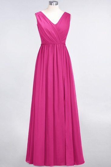Glamorous TulleV-Neck Ruffle Burgundy Bridesmaid Dress Online_9