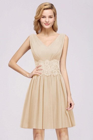 Pretty V-Neck Short Sleeveless Lace Bridesmaid Dresses Online_54