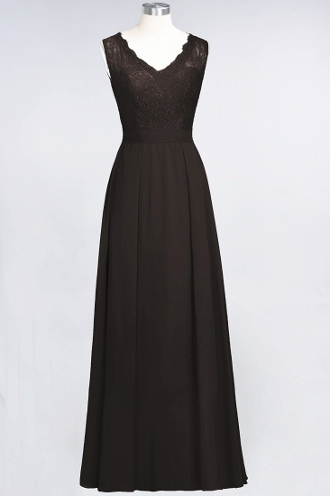 BMbridal Modest Chiffon V-Neck Burgundy Lace Bridesmaid Dresses Online_11