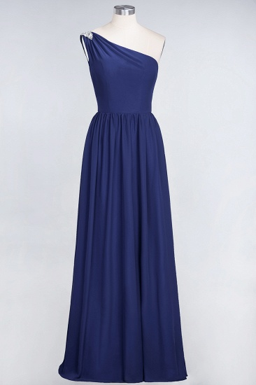 Affordable Chiffon One-Shoulder Ruffle Bridesmaid Dress with Beadings_26