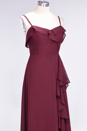 Elegant Spaghetti Straps Ruffle Burgundy Chiffon Dresses Affordable_65